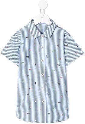 Familiar Animal Print Striped Shirt