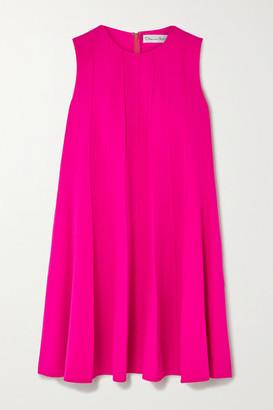 Oscar de la Renta Neon Pleated Wool-blend Crepe Mini Dress - Pink