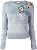 RED Valentino bird embroidery lurex jumper