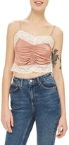 Topshop Women's Ruched Satin & Lace Camisole