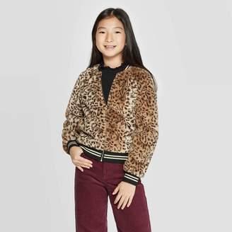 Girls' Faux Fur Animal Bomber Jacket - art classTM