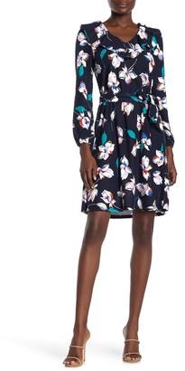 Spense Floral Pindot V-Neck Dress