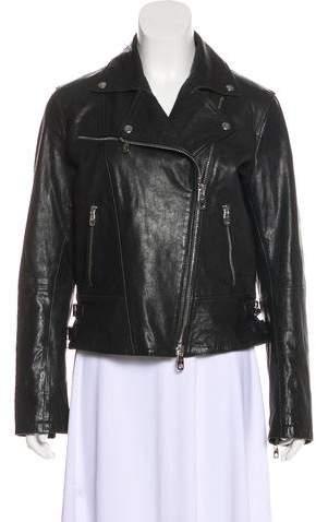 Emporio Armani Asymmetrical Leather Jacket