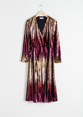 And other stories Ombre Sequin Midi Dress