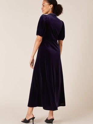 Monsoon Veronique Velvet Shirt Dress - Plum