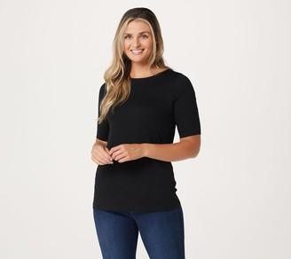 Denim & Co. Essentials Anywear Jersey Boat Neck Elbow Sleeve Top