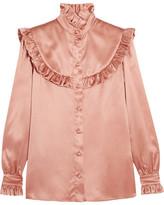 Saint Laurent Ruffled Silk-satin Blouse - Blush