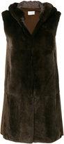 Yves Salomon furry sleeveless coat