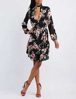 Charlotte Russe Floral Cut-Out Mock Neck Dress
