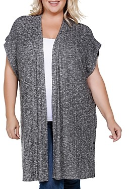 Belldini Plus Side-Button Open Cardigan