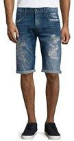 G Star G-Star Distressed Straight-Leg Denim Shorts, Medium Blue