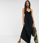 Asos Tall DESIGN Tall cami bow front maxi sundress in black