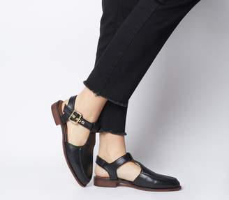 Office Filter Cut Out Flats Black Leather