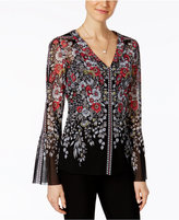 INC International Concepts Petite Printed Bell-Sleeve Top, Only at Macy's