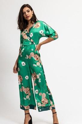 Divine Grace Liquorish Two Tones Green Floral Jumpsuit with wide Leg and Wrap Front