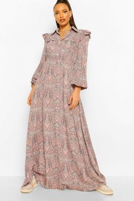 boohoo Tall Paisley Print Ruffle Long Sleeve Maxi Dress