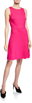 Kate Spade sleeveless scallop-back ponte dress