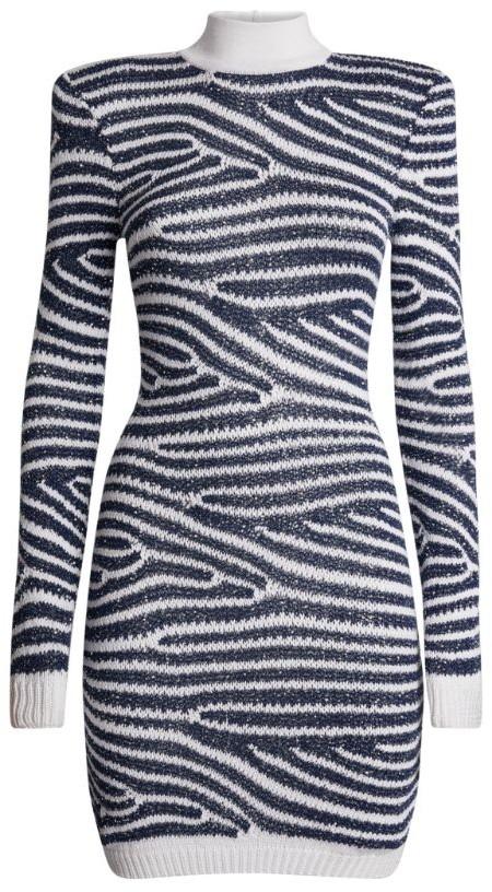 Balmain Sequined Stripe Dress