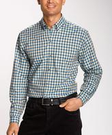 Cutter & Buck Blue & Gray Check Button-Up Top - Big & Tall