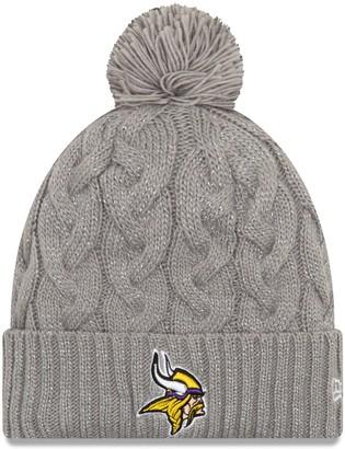 New Era Women's Gray Minnesota Vikings Swift Cable Cuffed Knit Hat with Pom