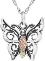 Black Hills Butterfly Pendant w/ Chain, Sterling/12K Gold