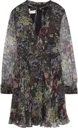 Valentino Pussy-bow Floral-print Silk-georgette Mini Dress