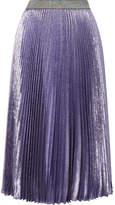 Christopher Kane Dna Pleated Silk-blend Lamé Midi Skirt - Purple