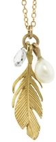 Annette Ferdinandsen Pearl, Diamond and Gold Feather Charm Necklace