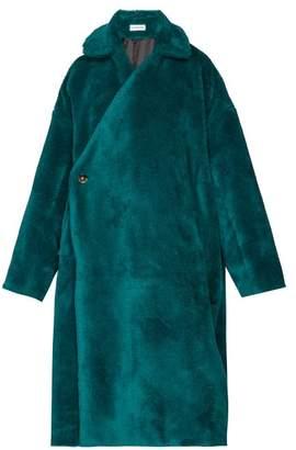 Balenciaga Asymmetric-fastening Faux-shearling Coat - Womens - Dark Green