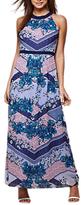 Yumi Chevron Scarf Print Maxi Dress, Cobalt Blue