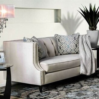 Everly Quinn Rayna Loveseat Quinn Fabric: Microfiber/Microsuede Beige