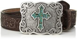 Nocona Belt Company Belt Co. Women's Inlay Turquoise Cross Buckle Belt