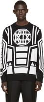 Kokon To Zai Black and Ivory Knit Logo Sweater