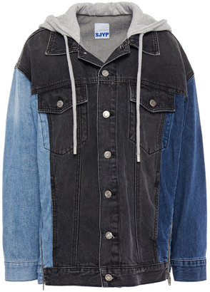 Sjyp Paneled Denim And Cotton-jersey Hooded Jacket