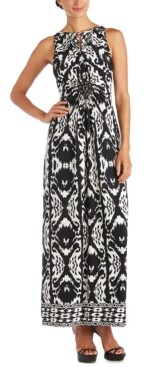R & M Richards Printed Keyhole Maxi Dress