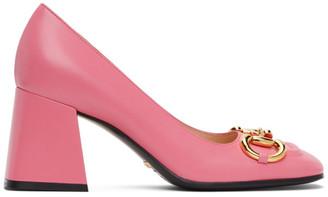 Gucci Pink Horsebit Mid Heel Pumps