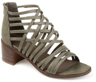 Brinley Co. Faux Leather Caged Criss-cross Heeled Sandals (Women's)