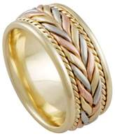 American Set Co. Men's Tri-color 18k White Yellow Rose Gold Woven 8mm Comfort Fit Wedding Band Ring size 11.25