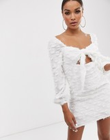 Lasula textured square neck tie front mini dress with balloon sleeves in white