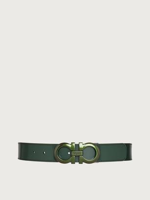 Salvatore Ferragamo Men Reversible and adjustable Gancini belt Green