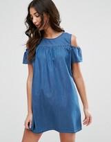 Brave Soul Cold Shoulder Denim Dress