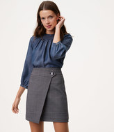 LOFT Plaid Button Wrap Skirt
