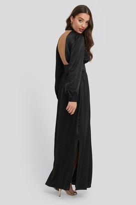 NA-KD High Neck Open Back Maxi Dress Black