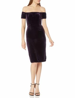 BCBGMAXAZRIA Azria Women's Karen Woven Crushed Velvet Off The Shoulder Dress