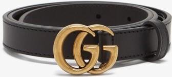 Gucci GG-logo Leather Belt - Black