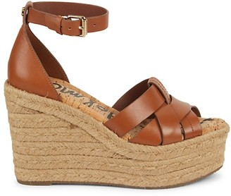Sam Edelman Marietta Leather Peep-Toe Espadrille Wedge Sandals