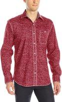 Bugatchi Men's Distress Tonal Button Down Shirt
