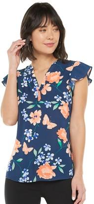 Elle Women's Splitneck Flutter Sleeve Top