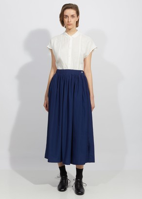 Blue Blue Japan Wavy Rayon Side Slit Gathered Skirt