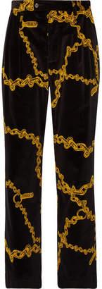 Aries Black Pleated Printed Cotton-Velvet Suit Trousers